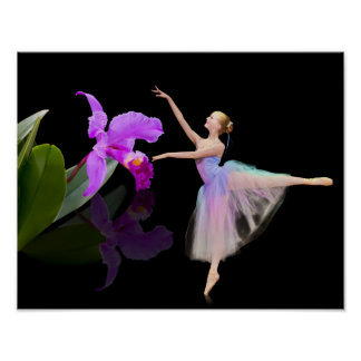 Ballerina with Orchid on Black Poster