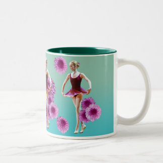 Ballerina with Pink and Red Mums Two-Tone Coffee Mug
