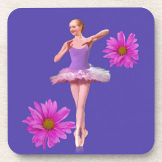 Ballerina with Pink Daisies Beverage Coaster