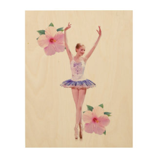 Ballerina with Pink Hibiscus Flowers  Customizable Wood Wall Decor