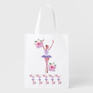 Ballerina with Pink Hibiscus Flowers  Customizable Market Totes