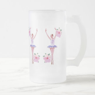 Ballerina with Pink Hibiscus Flowers Frosted Glass Beer Mug