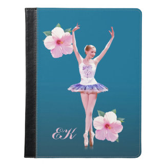 Ballerina with Pink Hibiscus Flowers, Monogram iPad Case