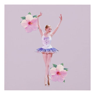 Ballerina with Pink Hibiscus Flowers Panel Wall Art