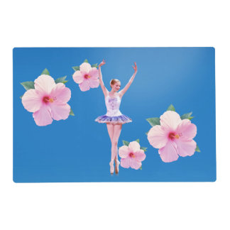 Ballerina with Pink Hibiscus Flowers Placemat