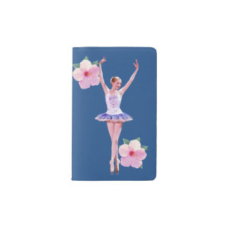 Ballerina with Pink Hibiscus Flowers Pocket Moleskine Notebook Cover With Notebook