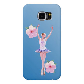 Ballerina with Pink Hibiscus Flowers Samsung Galaxy S6 Case