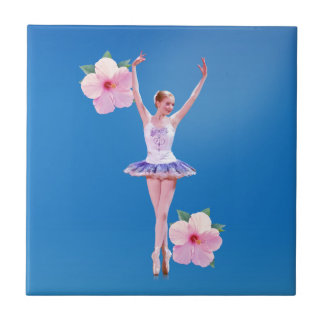 Ballerina with Pink Hibiscus Flowers Tile
