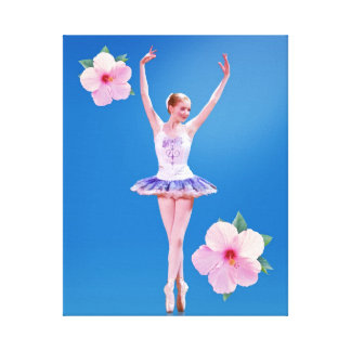 Ballerina  with Pink Hibiscus Wrapped Canvas Stretched Canvas Prints
