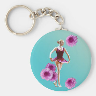 Ballerina with Pink Mums Keychain