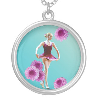 Ballerina with Pink Mums Necklace