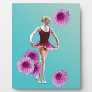 Ballerina with Pink Mums Plaque