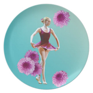 Ballerina with Pink Mums Plate
