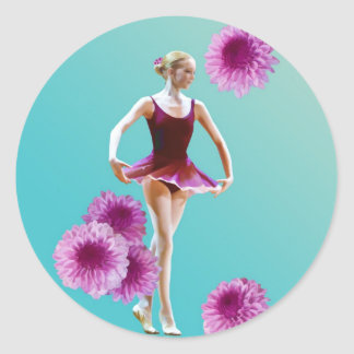 Ballerina with Pink Mums Sticker