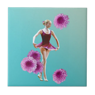 Ballerina with Pink Mums Tile