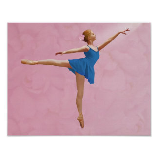 Ballerina with Rose in Arabesque Pose Print