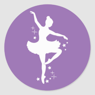 Ballerina with Stars in Silhouette Classic Round Sticker