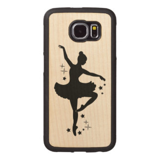 Ballerina with Stars in Silhouette Wood Phone Case
