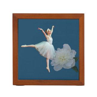 Ballerina with White Peony, Reversible Desk Organizer