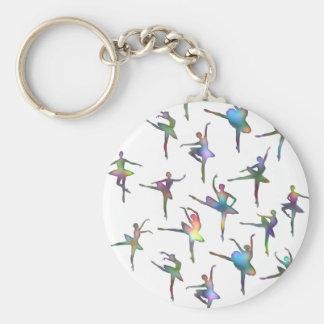 Ballerinas Basic Round Button Keychain