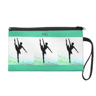 Ballerinas Dancing Teal Ballet Design Personalized Wristlet Clutches