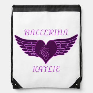 Ballerina's heart and wings drawstring backpack