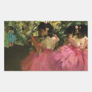 Ballerinas in Pink by Edgar Degas Rectangular Sticker