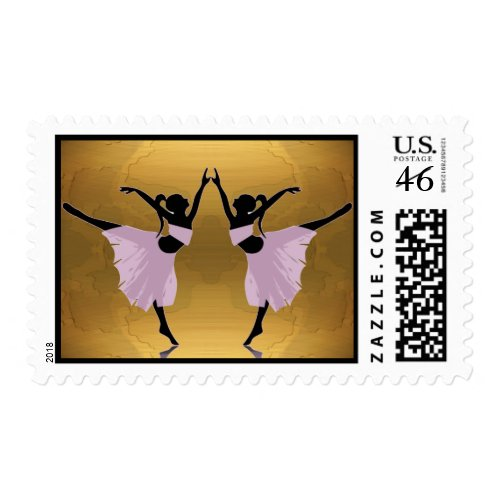ballerinas in pink on gold postage stamp stamp