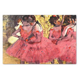 "Ballerinas - Pink Dancers, art by Degas 10"" X 15"" Tissue Paper"