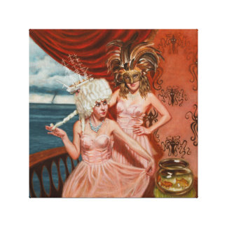 Ballerinas ship water wig fish octopus Laura Art Canvas Print