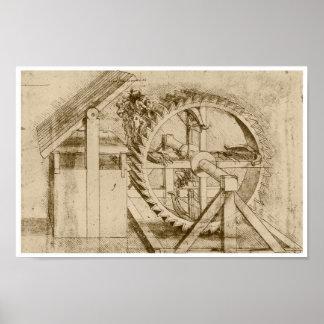 Ballesta accionada rueda de ardilla, Leonardo da V Póster