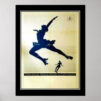 Ballet and Roller skates Vintage Poster