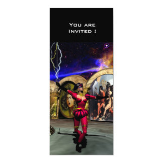 "BALLET ANDROIDE, rojo negro Invitación 4"" X 9.25"""