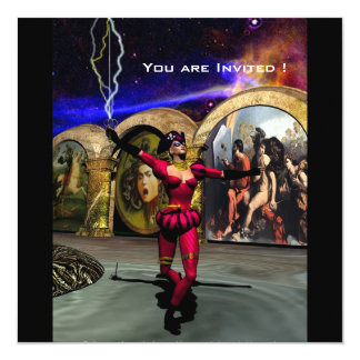 "BALLET ANDROIDE, rojo negro Invitación 5.25"" X 5.25"""