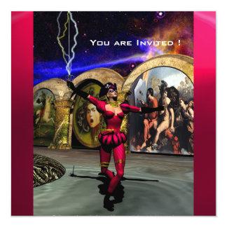 "BALLET ANDROIDE, rubí rojo negro Invitación 5.25"" X 5.25"""