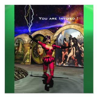"""BALLET ANDROIDE, verde de jade azul rojo negro Invitación 5.25"""" X 5.25"""""""