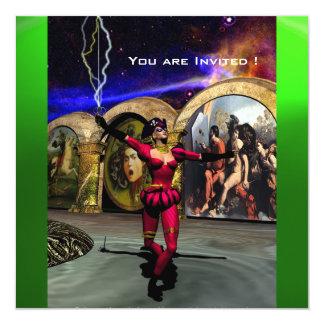 """BALLET ANDROIDE, verde esmeralda azul rojo negro Invitación 5.25"""" X 5.25"""""""