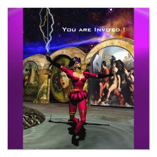 """BALLET ANDROIDE, violeta púrpura roja negra Invitación 5.25"""" X 5.25"""""""