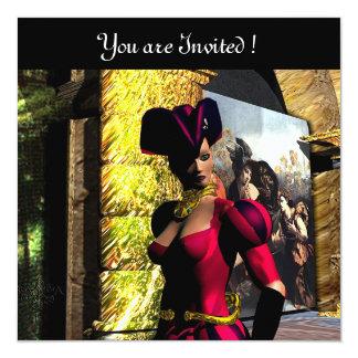 """BALLET ANDROIDE XENIA EN LA ÓRBITA, rojo negro Invitación 5.25"""" X 5.25"""""""