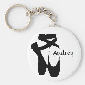 Ballet Ballerina Black Pointe Shoes Custom Basic Basic Round Button Keychain
