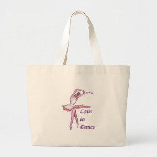 Ballet ballerina dance design large tote bag