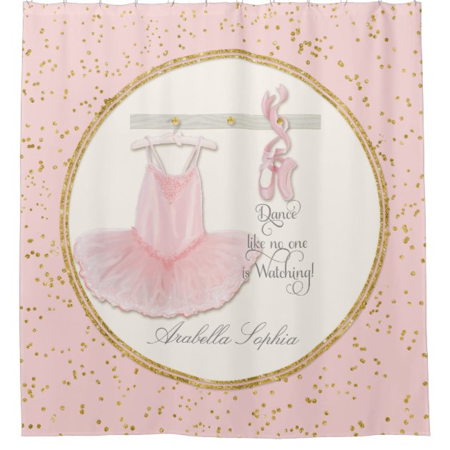Ballet Ballerina Dance Shoes Little Girl Decor Shower Curtain