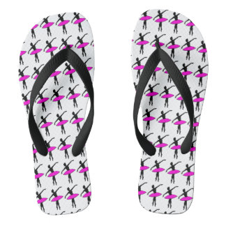 Ballet Ballerina Dancer Silhouette Pink Flip Flops