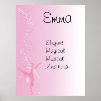 Ballet Ballerina Girls Name Art Poster Print