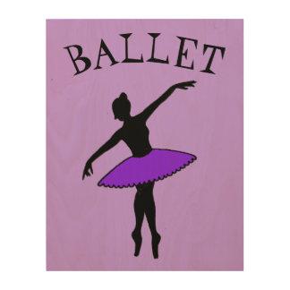 Ballet Ballerina Purple Tutu Silhouette Dance Gift Wood Wall Art