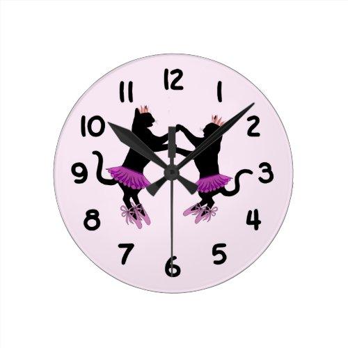 Ballet Black Cats Round Clock