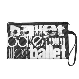 Ballet; Black & Dark Gray Stripes Wristlet Clutch