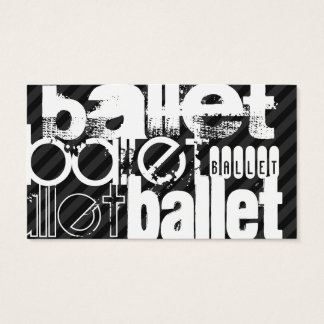 Ballet; Black & Dark Gray Stripes Business Card