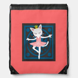 Ballet Cat Drawstring Backpacks
