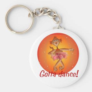 Ballet Cat Basic Round Button Keychain